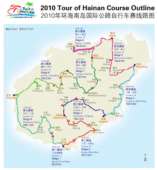 2010环海南岛国际公路自行车赛交通管制通告
