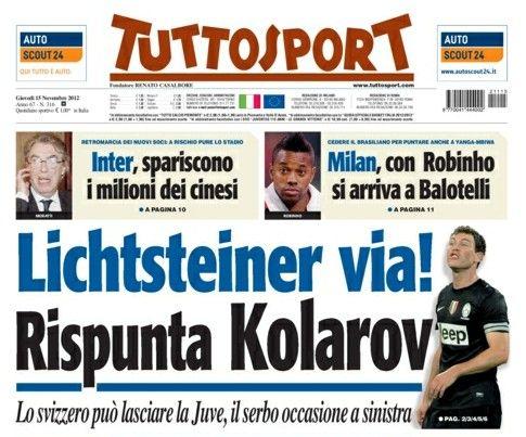 《都灵体育报》:利希施泰纳走,科拉罗夫来