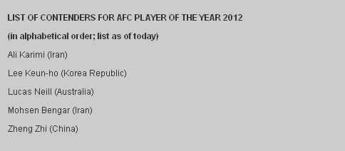 郑智入围2012亚洲足球先生5人候选名单