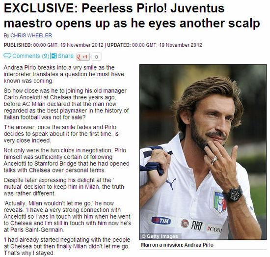 《邮报》:皮尔洛